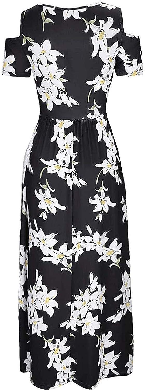 Aullivillen Womens Summer Dresses Loose Floral Print Maxi Dress Short Sleeve Casual Long Sundress Boho Skirts Vestidos