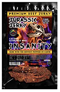 """JURASSIC JERKY """"INSANITY"""" HOT Beef Jerky made with the Ghost, Habanero & Carolina Reaper the Hottest Pepper on Earth! Can you handle the Heat? Take the INSANITY Challenge! (1 oz bag)"""