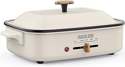 HAUSLIEBE Multifunctionele pan elektrische pan elektrische tafelgrill multipan met metalen deksel en instelbare temperatuu...
