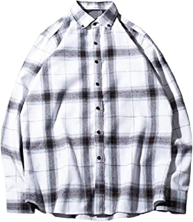 MogogoMen Lapel Collar Japanese 法兰开衫 Plaid Pattern Long Sleeve Dress Shirt