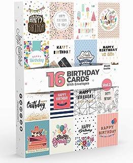 Joy Masters - 16 Tarjetas de Cumpleaños | Paquete Variado con SOBRES | Gran Combo para Hombres y Mujeres - Vol. 2