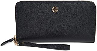 Tory Burch Women's Robinson Passport Continental Wallet, Black/Royal Navy, One Size