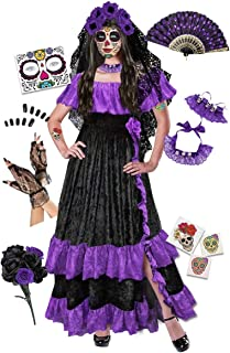 Purple Plus Size Day of the Dead Halloween Costume For Dia de los Muertos