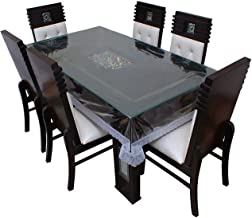 Classic Transparent 4 Seater Dining Table Cover with Silver LACE (45X70 INCHES)
