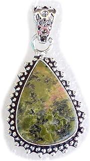 Unakite Pendant, Silver Plated Brass Pendant, Handmade Pendant, Gift Jewelry, Women Jewellry, Fashion Jewellry, BRS-12500