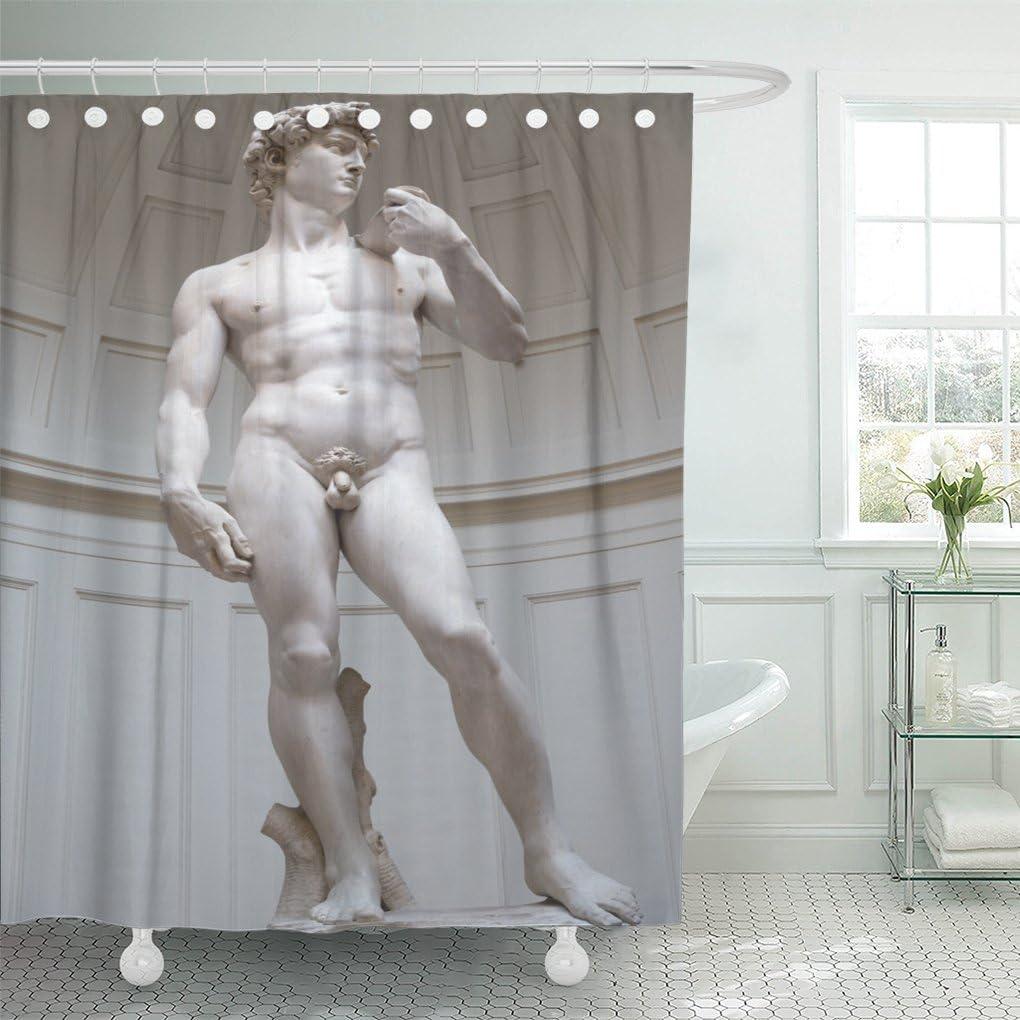 Emvency Shower Curtain Black David David S Statue By Miguel Angel Florence White Michelangelo Shower Curtain 72 X 72 Inches Shower Curtain With Plastic Hooks Home Kitchen