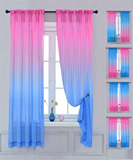 Yancorp Sheer Curtain 2 Panels Semi Bedroom Curtains 63...