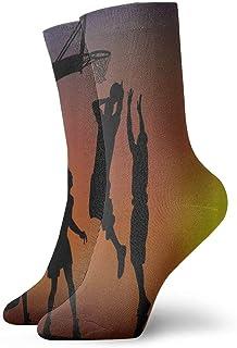Jugando al baloncesto Silueta de equipo clásico Calcetines de compresión Tejido plano Casual Atlético Calzado 30 cm Suave