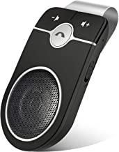 Car Hands Free Bluetooth for Cell Phone, Bluetooth 5.0 Handsfree Loud Speakerphone, Siri Google Assistant Support, Sun Visor Clip Wireless Music Player, Support Two Phone Connect