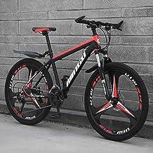 Bicicletas De Montaña para Hombre De 26 Pulgadas, Bicicleta De Montaña Rígida De Acero con Alto Contenido De Carbono, con Asiento Ajustable con,Black Red 3 Spoke,21 Speed