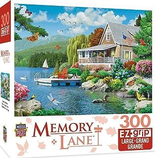 MasterPieces Memory Lane Lakeside Memories Cabin Lake Large EZ Grip Jigsaw Puzzle by Alan Giana, 300-Piece