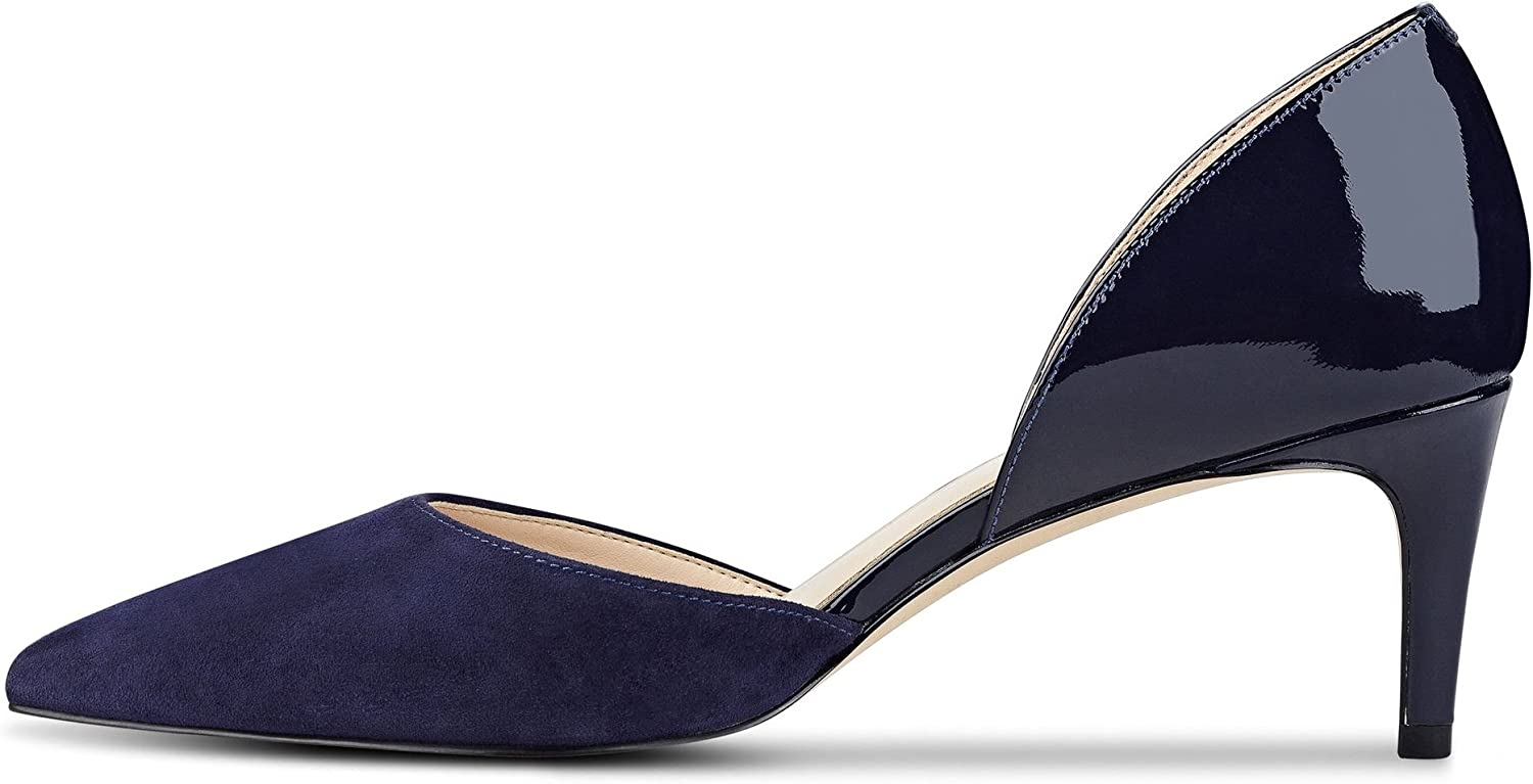 Sammitop Women's Mid-Heel D'Orsay Pumps Pointed Toe 6.5cm Heel Dress shoes Multicolor Navy US8