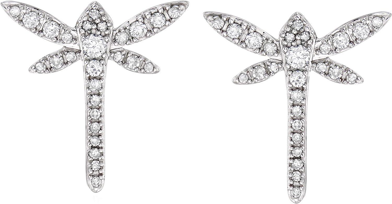 Ross-Simons 0.25 ct. t.w. Diamond Dragonfly Earrings in 14kt White Gold