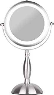 S.H.E. Makeup Mirror – Lighted Vanity Mirror - Natural White 18 Led Bulbs - Free-standing cosmetic mirror, Cordless, Battery-powered - Double sided x1/x7 magnification - 360 rotation round face mirror