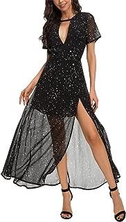 Women's Short Sleeve Deep V-Neck Floral Flowy Beach Party Long Maxi Dress