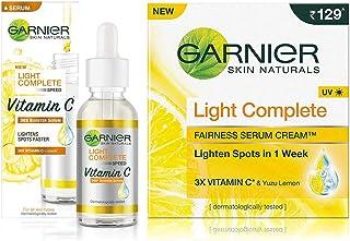 Garnier Light Complete VITAMIN C Booster Face Serum 30 ml & Garnier Skin Naturals Light Complete Serum Cream, 45g