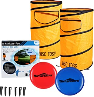 Win SPORTS Folding Disc Slamming Game Set丨Flying Disc Toss Dunk Game Set丨Includes 2 Disc Targets with Bean Bag,2 Flying Discs,6 Ground Stakes,Carrying Case – Great for Backyard,Tailgating