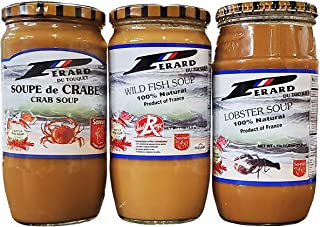 Perard French Seafood Soup 3 Pack Bundle (Crab, Fish, and Lobster)