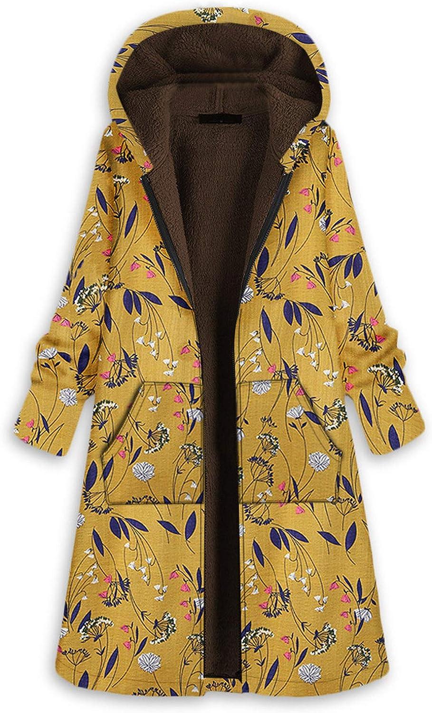 Okseas Damen Winter Jacke Mantel Damen Warm Dicker Outwear Parka Mantel Jacke Blumendruck mit Kapuze Taschen Vintage Oversize Coats Gelb