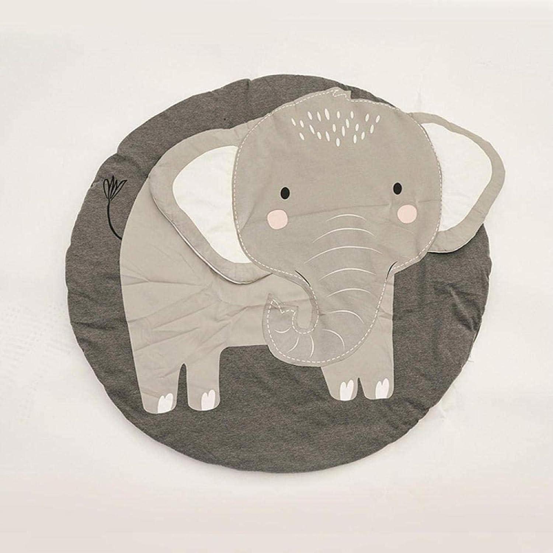 Baby Fitness Speelmat, Babyprint Kruipmat, 100% natuurlijke stof Babymat voor spelen Kruipen Slapen Veranderen Zacht Warm dik Elephant