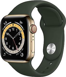 AppleWatch Series6 (GPS+Cellular, 40 mm) Caja de acero inoxidable en oro - Correa deportiva verde Chipre