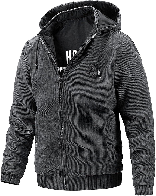 Mens Western Sherpa Hoodies Fleece Jacket 2 in 1 Autumn Winter Warm Coats Corduroy Zip Up Bomber Tactical Jacket