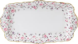 Royal Albert ROSCON26137 Rose Confetti Vintage Formal Rectangular Serving Tray, White