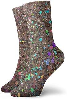 Fragmentos de colores brillantes Calcetines casuales transpirables Calcetines deportivos de viaje Yoga Caminar Ciclismo Correr Fútbol 30cm