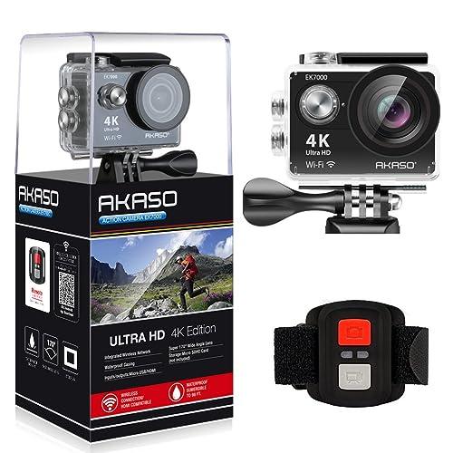 AKASO Caméra Sport Etanche 4k WiFi Action Cam 30fps, Caméscope Ultra HD, Écran LCD, Grand Angle 170°, 2 Batteries Rechargeables 1050mAh, 2.4GO Télécommande, 19 Kits d'Accessoires - Noir