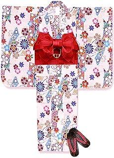 浴衣 こども 女の子 浴衣 セット 古典柄 子供浴衣 作り帯 下駄 3点セット 選べるサイズ(100 110)「生成り 古典桜」TSW-804-set