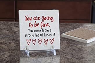 product image for Imagine Design Relatively Funny You are Going to Be Fine, Travertine Coaster, Red/Black/White
