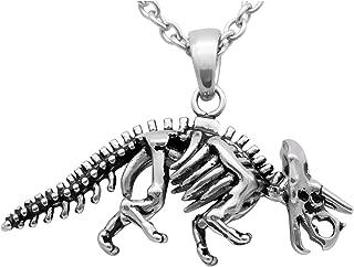 Dinosaur Necklace Triceratops Skeleton Pendant 316L Stainless Steel