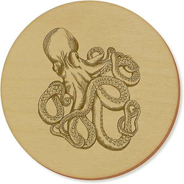 Azeeda 6 X Sketched Octopus 95mm Round Wooden Coasters CR00110092