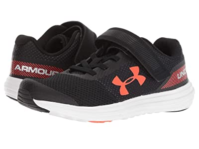 Under Armour Kids UA BPS Surge Running AC (Little Kid) (Black/White/Ares Red) Boys Shoes