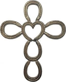 Cast Iron Cross in Horseshoe Heart