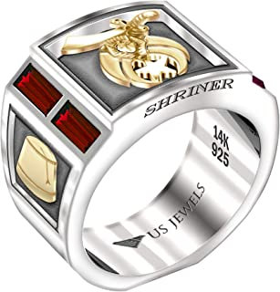US Jewels And Gems Men's Shriner Two Tone 0.925 Sterling Silver and 14k Yellow Gold Simulated Ruby, Sizes 8 to 13