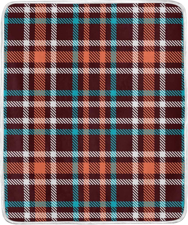 Vintage Striped Tartan Checkered Plaid Throw Blanket Soft Nap Couch Bed Blankets Kid Boy Girl Women Men 50x60 inch