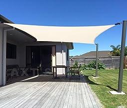 AXT SHADE Toldo Vela de Sombra Rectangular 2 x 3 m, protección Rayos UV y HDPE Transpirable para Patio, Exteriores, Jardín, Color Beige