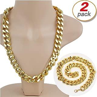 Yo-fobu 2 Pack Hip Hop Chain Necklace Rapper Gold Costume Necklace Jewelry Rapper Necklace, Long 22 inches, Wide 20mm
