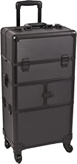 (Dot Black) - SUNRISE Makeup Case on Wheels 2 in 1 Hair Stylist I3564, 9 Trays with Brush Holder, 4 Wheel Spinner, Locking with 2 Mirrors and Shoulder Strap, Black Dot