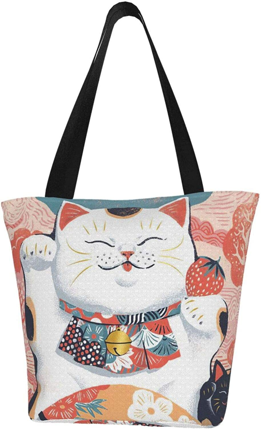 Japanese Style Lucky Cat Money Strawberry Themed Printed Women Canvas Handbag Zipper Shoulder Bag Work Booksbag Tote Purse Leisure Hobo Bag For Shopping