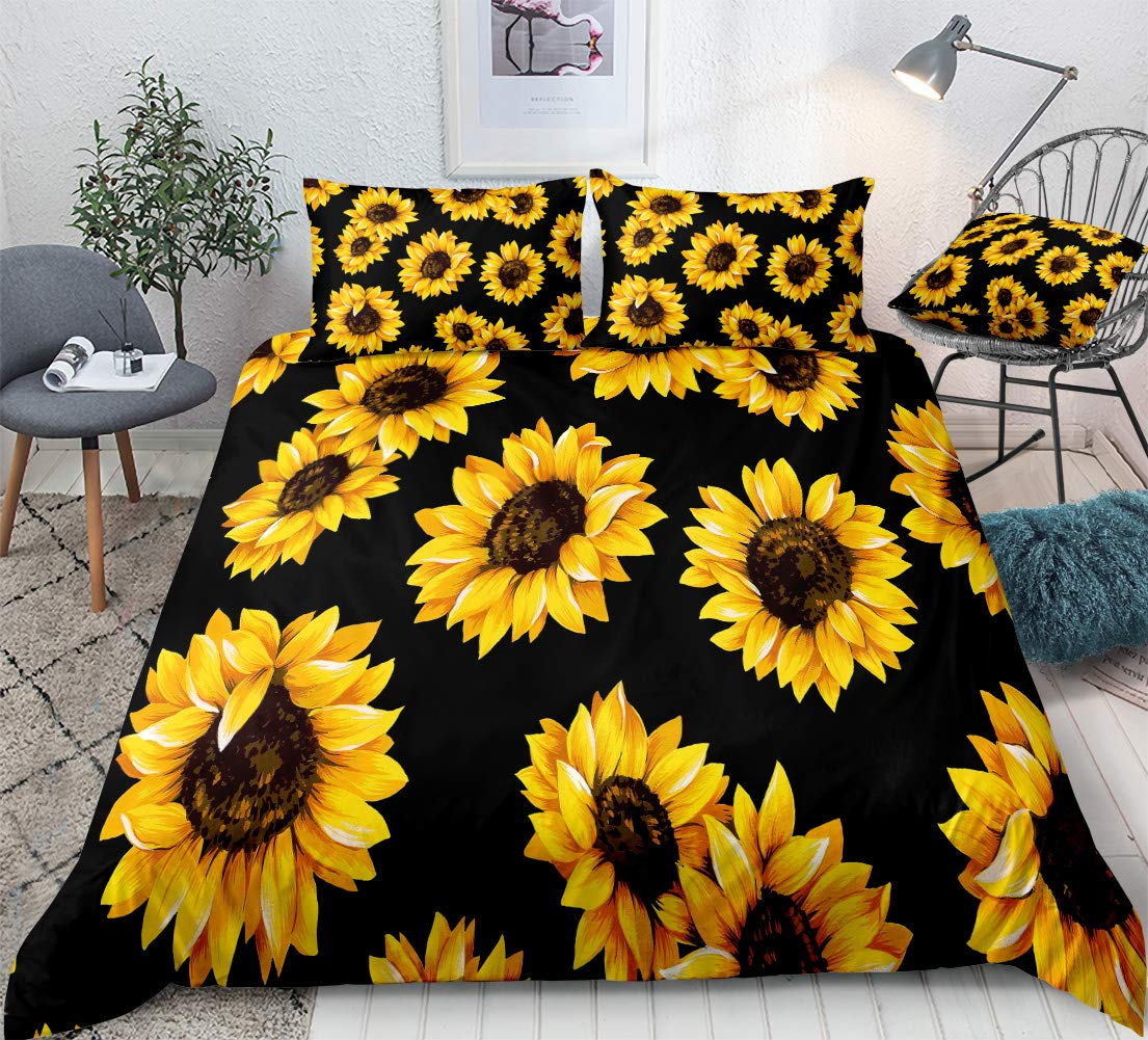 Amazon Com Yellow Sunflowers Bedding Black Yellow Duvet Cover Set Gold Yellow Sunflowers Printed Luxury Black Boys Girls Bedding Sets Queen 1 Duvet Cover 2 Pillowcases Queen Black Sunflowers Kitchen Dining