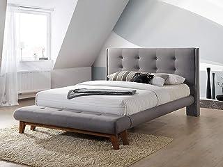 Le Sophie Grey de Cadar | Lit avec matelassage en tissu gris Sophie | Lit avec tête de lit en bois | Sommier à lattes de b...