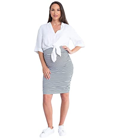 Angel Maternity Maternity Linen Shirt and Skirt (White/Black Stripe) Women