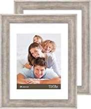 Boichen 11X14 Picture Frames 2 Pack Rustic Style Wood Pattern High Definition Glass for Tabletop Display and Wall mounting Photo Frame Silver Grey Wood