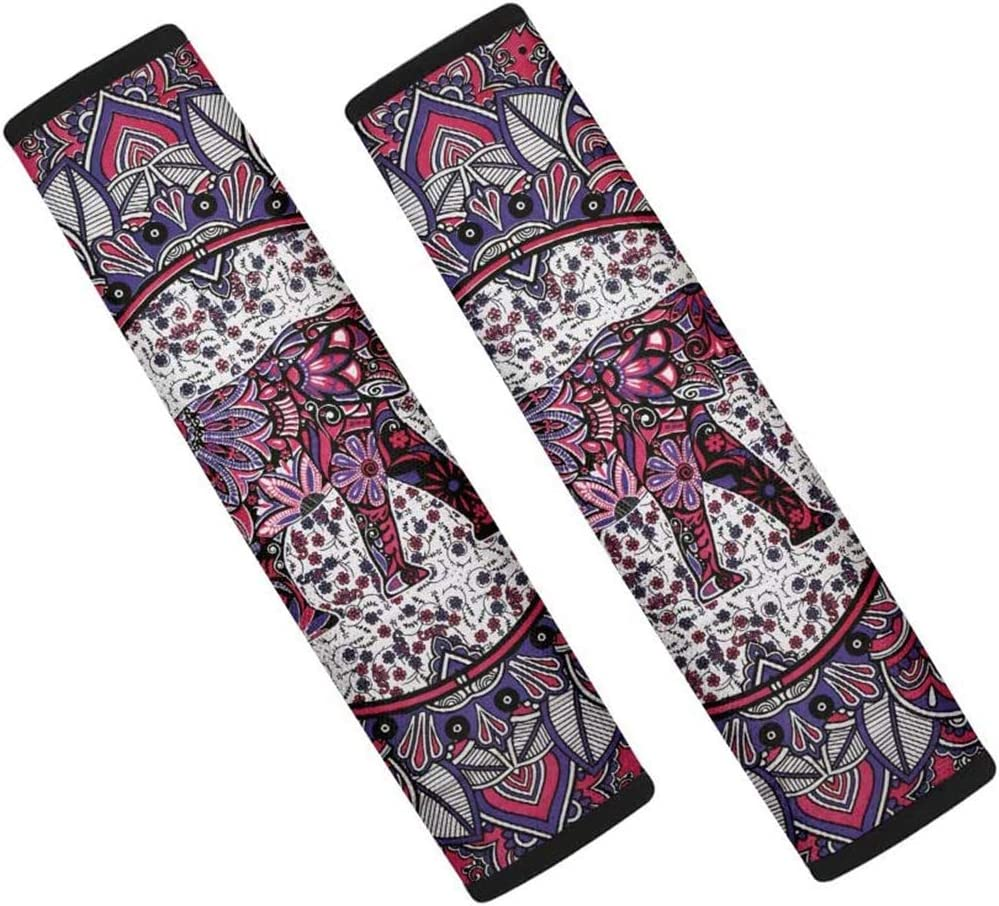 YORXINGY Ethnic Seat Belt Pad Cover for Drivers Elephant Print Safety Gifts for Lover Ones Provide Better Cushioning During Emergency Braking