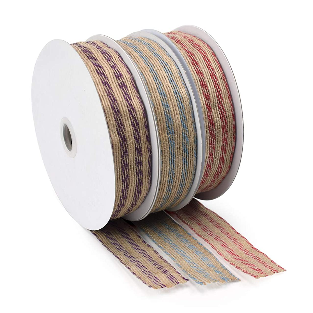 ZIIYAN 3 Rolls Multicolor Burlap Fabric Ribbon Roll for Wedding Events Party and Home Decor, 1.1 inch Wide, 3 Colors, 33 Feet Each Color