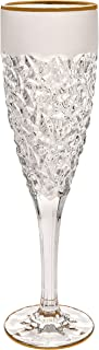 Barski - European Quality Glass - Set of 6 - Crystal - Champagne Flute - 8 oz. - Raindrop Design with Frosted Border and Gold Rim - Glasses Are Made in Europe