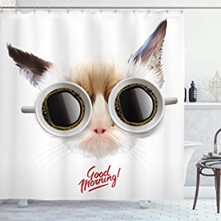 Ambesonne Funny Decor Collection, Funny Cat with Cups of Coffee Glasses on Her Eyes Office Reminder Pet Good Morning Theme, Polyester Fabric Bathroom Shower Curtain Set with Hooks, Cream Brown