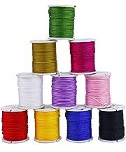 Monrocco Jewelry Nylon Cord, 10 Rolls 1mm Chinese Knotting Cord Nylon Hand Knitting Cord String Beading Thread for Jewelry Making Bracelet Beading Thread
